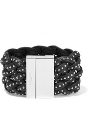 Studded bracelet in black braided leather