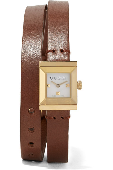 gucci female 211468 gucci leather and goldplated watch brown