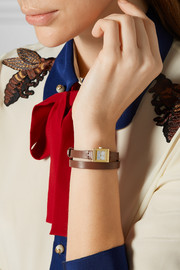 Leather and gold-plated watch