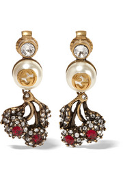 Gucci Ruthenium-plated, Swarovski crystal and faux pearl clip earrings