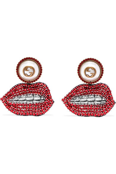Gucci - Lips Gold-plated, Swarovski Crystal And Faux Pearl Clip Earrings