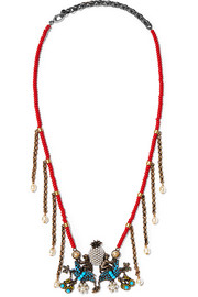 Gucci Burnished gold-tone beaded necklace
