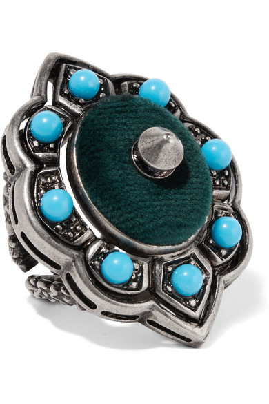 Gucci - Ruthenium-plated, Velvet And Resin Ring - Silver