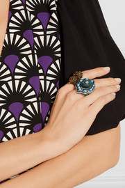 Gucci Ruthenium-plated, velvet and resin ring