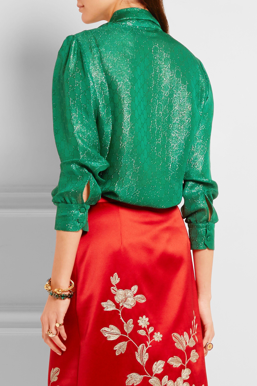 Gucci Schluppenbluse aus Metallic-Jacquard aus einer Seidenmischung