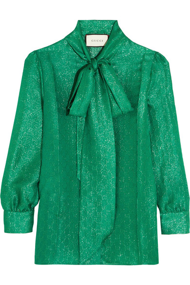 Gucci - Pussy-bow Metallic Silk-blend Jacquard Blouse - Jade