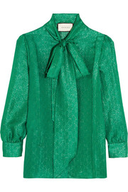 Gucci Pussy-bow metallic silk-blend jacquard blouse