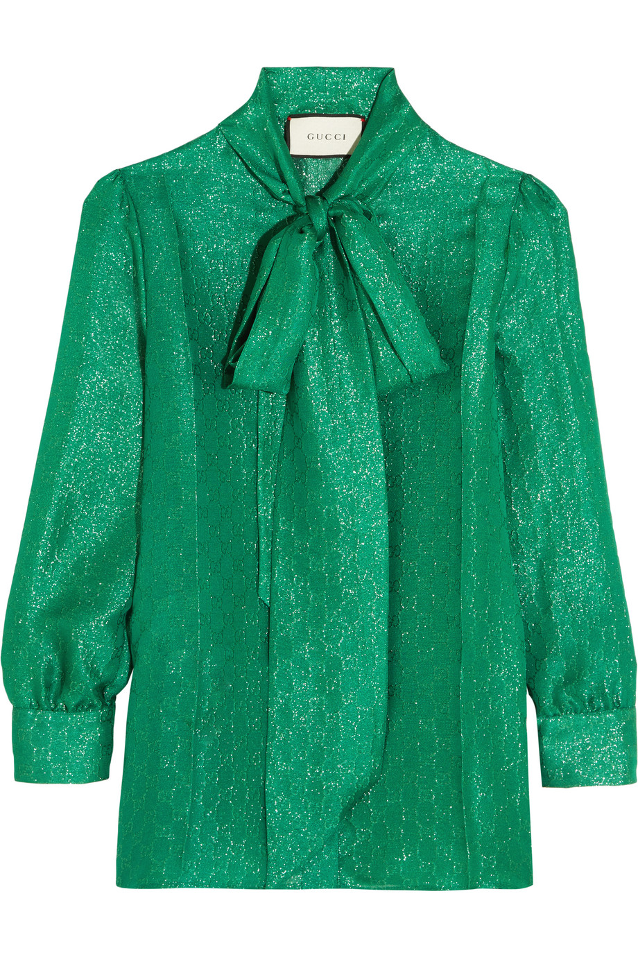 Gucci Pussy-Bow Metallic Silk-Blend Jacquard Blouse, Jade, Women's, Size: 36