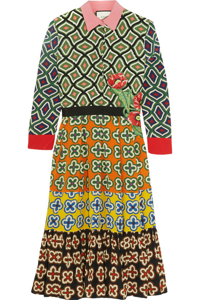 Gucci - Appliquéd Printed Silk Dress - Green