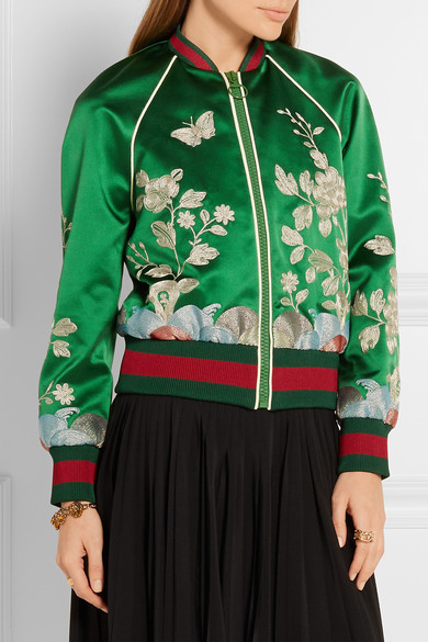 Gucci. Embroidered silk-satin bomber jacket