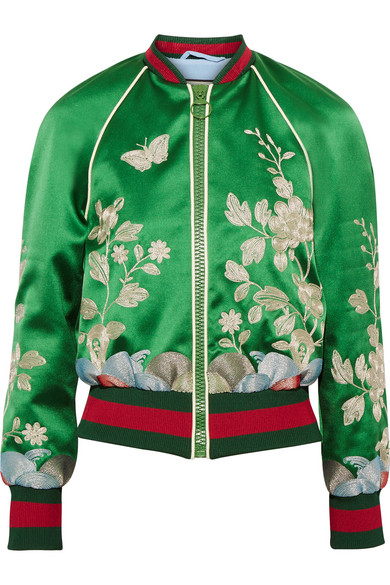 eae62b66a Gucci | Embroidered silk-satin bomber jacket | NET-A-PORTER.COM