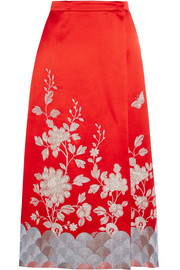 Embroidered wrap-effect silk-satin skirt