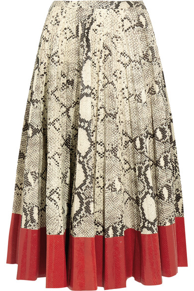 Gucci - Pleated Snake-effect Leather Skirt - Red