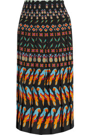 Pleated printed silk skirt