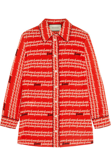 Gucci - Printed Silk Shirt - Red