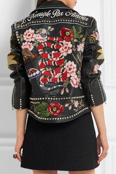 66b8dcaeb Gucci | Embellished leather biker jacket | NET-A-PORTER.COM