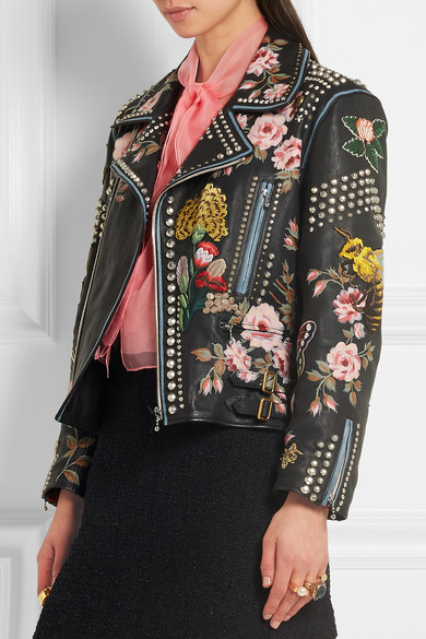 7ec278a0e Gucci   Embellished leather biker jacket   NET-A-PORTER.COM