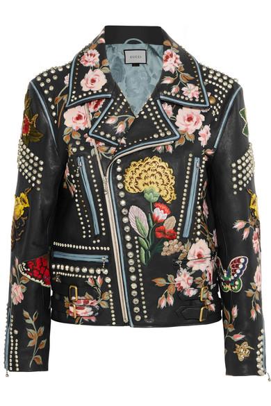 Gucci - Embellished Leather Biker Jacket - Black