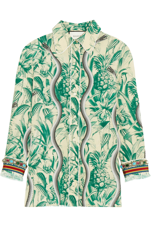 Gucci Bedrucktes Hemd aus Crêpe de Chine aus Seide mit Verzierung