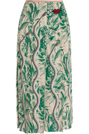 Embellished printed silk crepe de chine midi skirt
