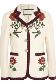 Gucci Embroidered silk, cotton and wool-blend cady blazer