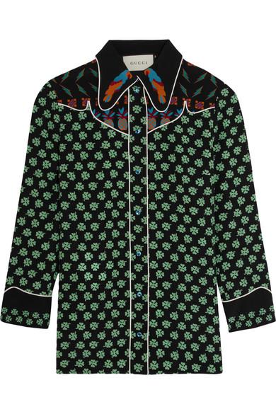 Gucci - Printed Silk Crepe De Chine Shirt - Black