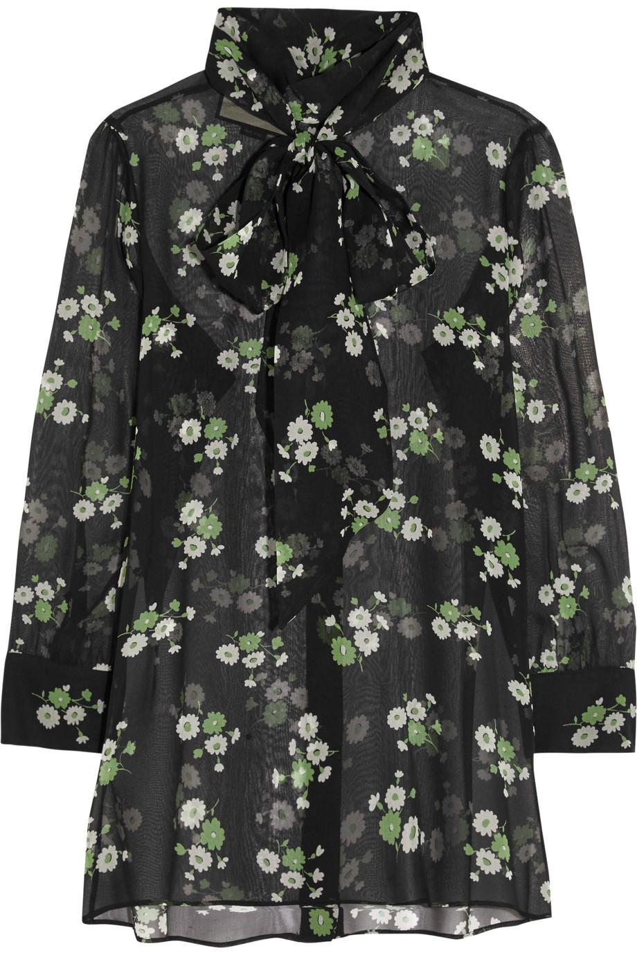Gucci Pussy-Bow Floral-Print Silk-Chiffon Blouse, Black, Women's, Size: 38