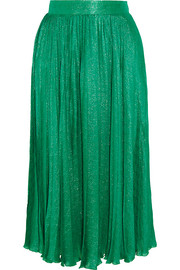 Pleated silk-blend jacquard midi skirt