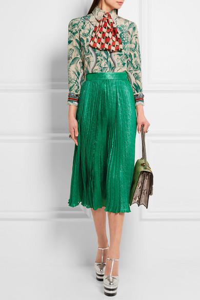 Gucci | Pleated silk-blend jacquard midi skirt | NET-A-PORTER.COM