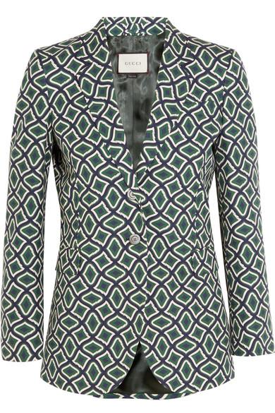 Gucci - Printed Cotton Blazer - Emerald