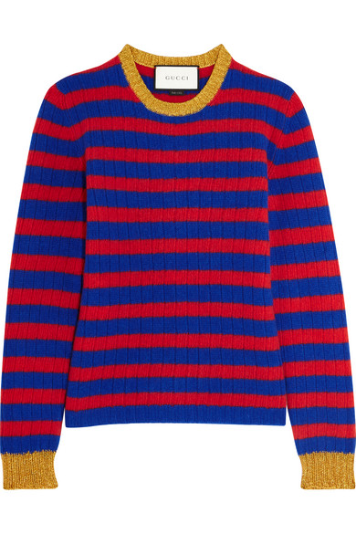 Gucci - Striped Cashmere And Wool-blend Sweater - Red