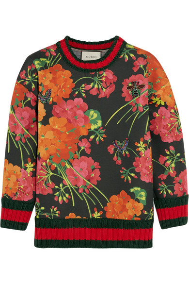 gucci female 250960 gucci floralprint bonded cottonjersey sweatshirt red
