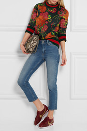 Gucci Floral-print bonded cotton-jersey sweatshirt