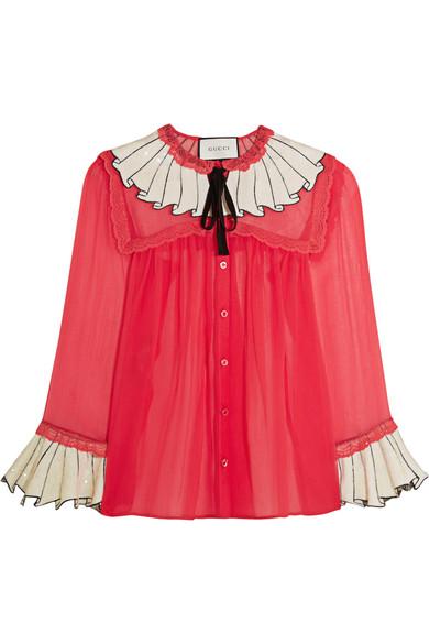 Gucci - Sequin-embellished Silk-chiffon Shirt - Crimson
