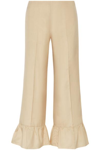 Gucci - Ruffled Silk Flared Pants - Cream