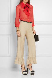 Gucci Ruffled silk flared pants