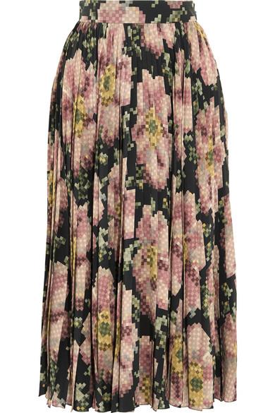 Gucci - Floral-print Pleated Silk Skirt - Black
