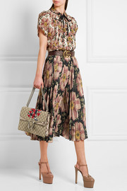 Gucci Floral-print pleated silk skirt