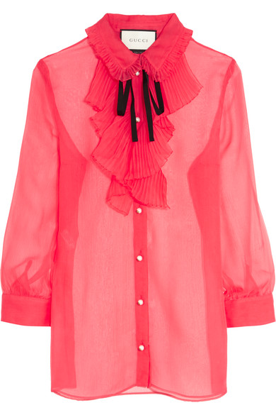 Gucci - Ruffled Crinkled Silk-chiffon Blouse - Crimson