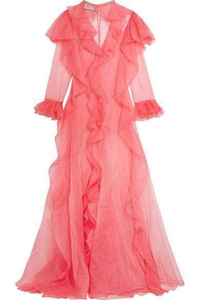 Gucci - Ruffled Silk-organza Gown - Pink