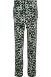 Printed cotton straight-leg pants