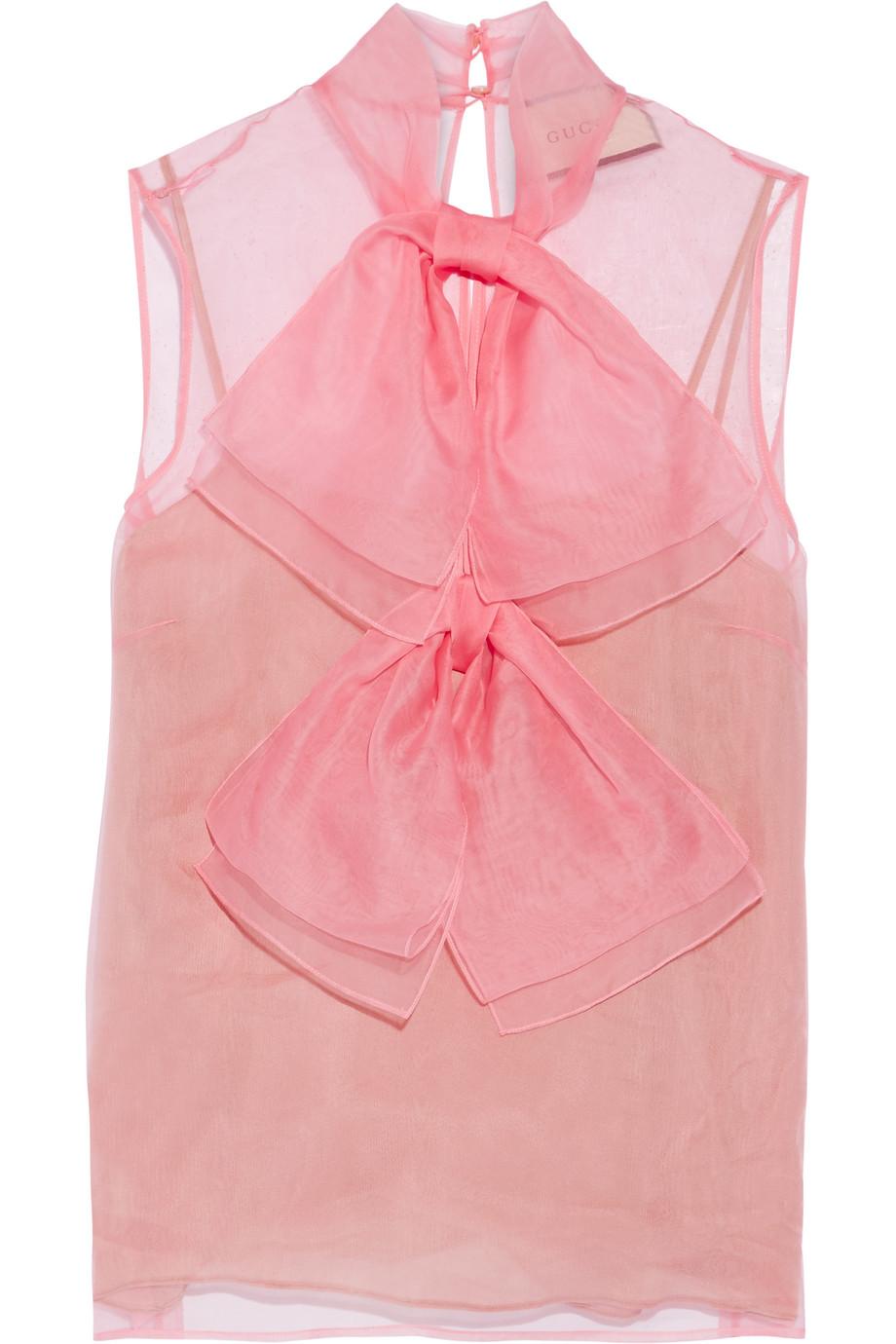 Gucci Pussy-Bow Silk-Chiffon Blouse, Pink, Women's, Size: 40