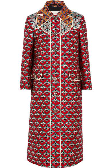 Gucci - Metallic Jacquard Coat - Red