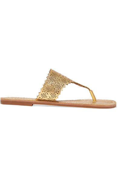Tory Burch. Roselle laser-cut metallic textured-leather sandals