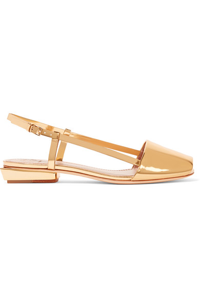 Tory Burch - Pietra Mirrored-leather Sandals - Gold