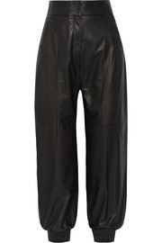 Fendi Textured-leather tapered pants