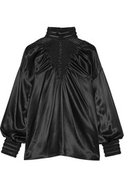 Fendi Macramé-trimmed silk-satin top
