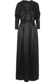 Fendi Macramé-trimmed silk-satin gown