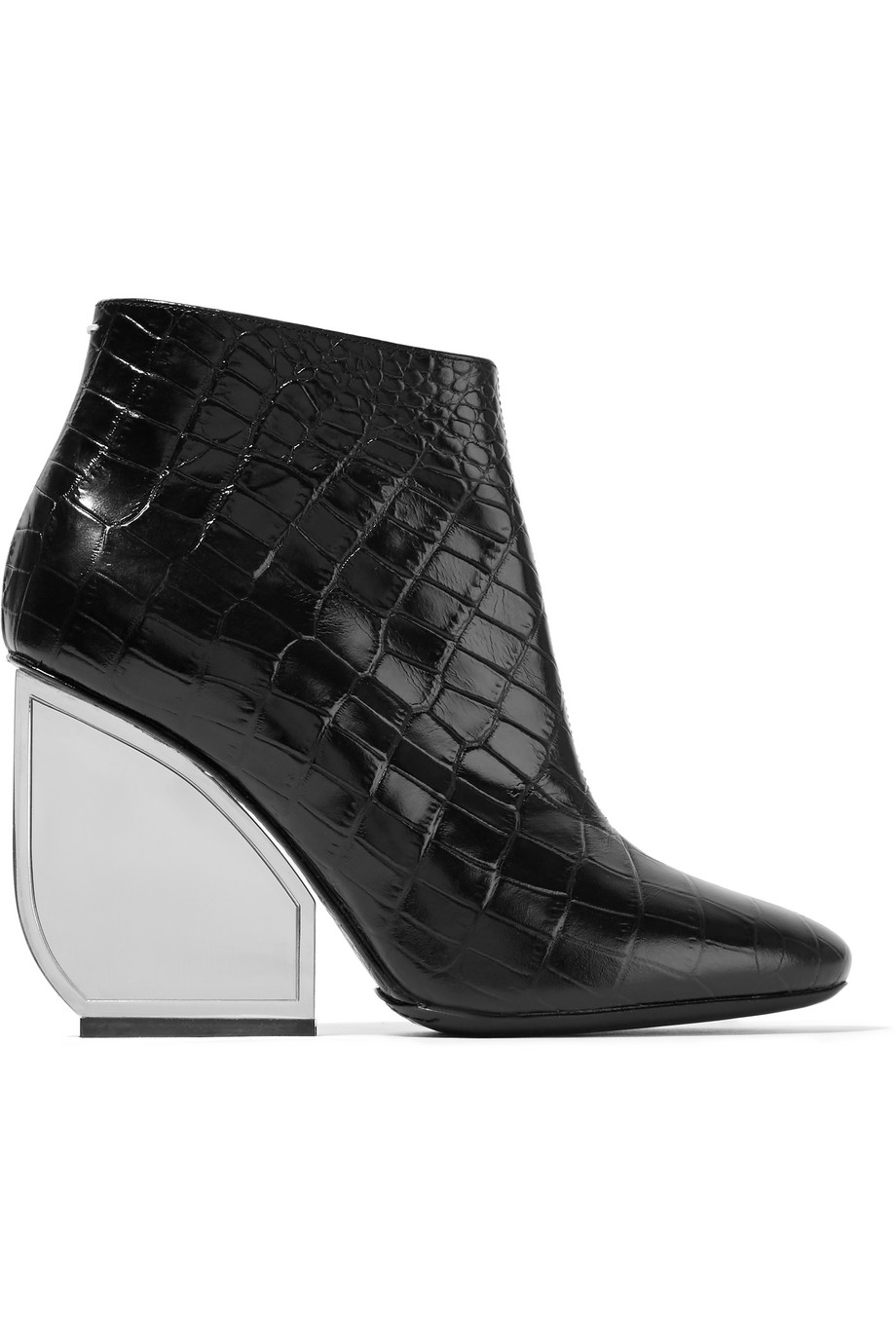Maison Margiela Croc-Effect Leather Ankle Boots, Black, Women's US Size: 5.5, Size: 36