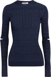 Cutout ribbed-knit sweater